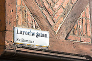 Street sign for Larochegatan by old town square in Malmo, Sweden