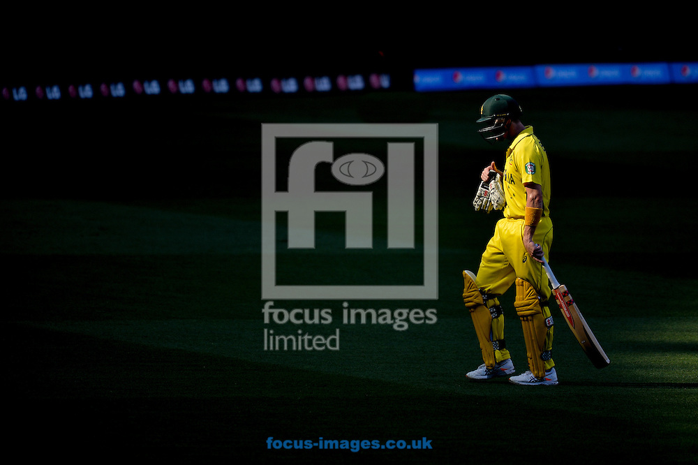 George Bailey of Australia leaves after been dismissed during the 2015 ICC Cricket World Cup match at Melbourne Cricket Ground, Melbourne<br /> Picture by Frank Khamees/Focus Images Ltd +61 431 119 134<br /> 14/02/2015