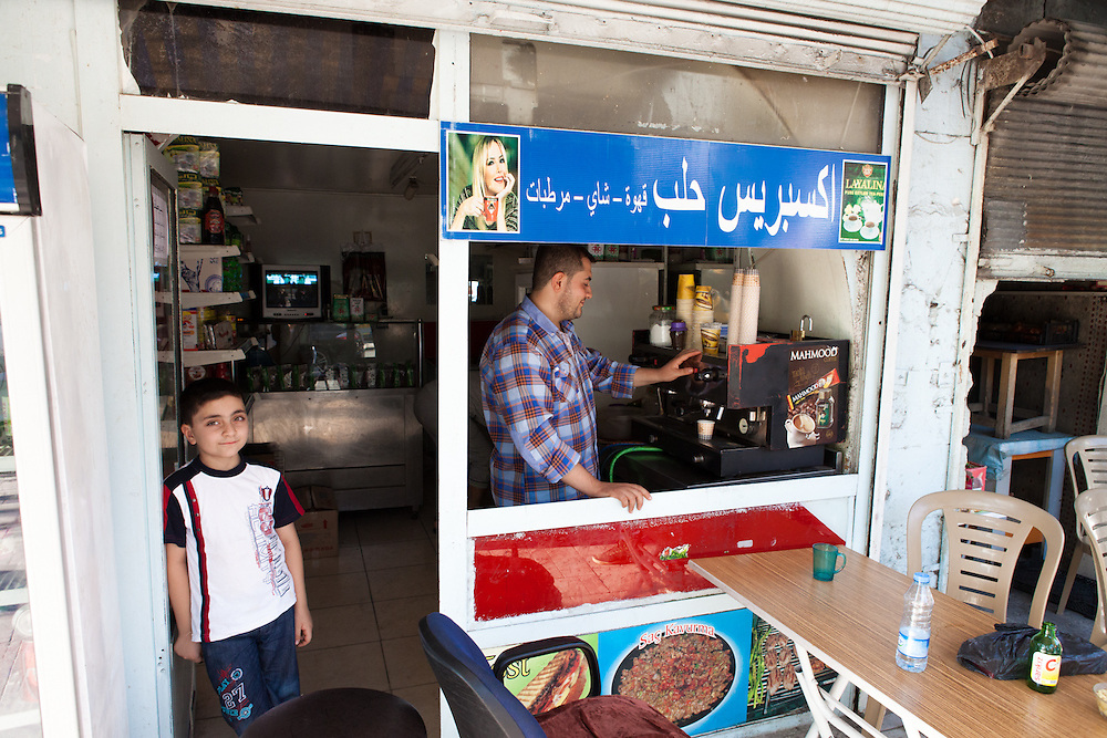 A Syrian coffee shop, owned and run by Syrian refugees from Aleppo, in the Turkish city of Gaziantep, near the Turkey-Syria border.