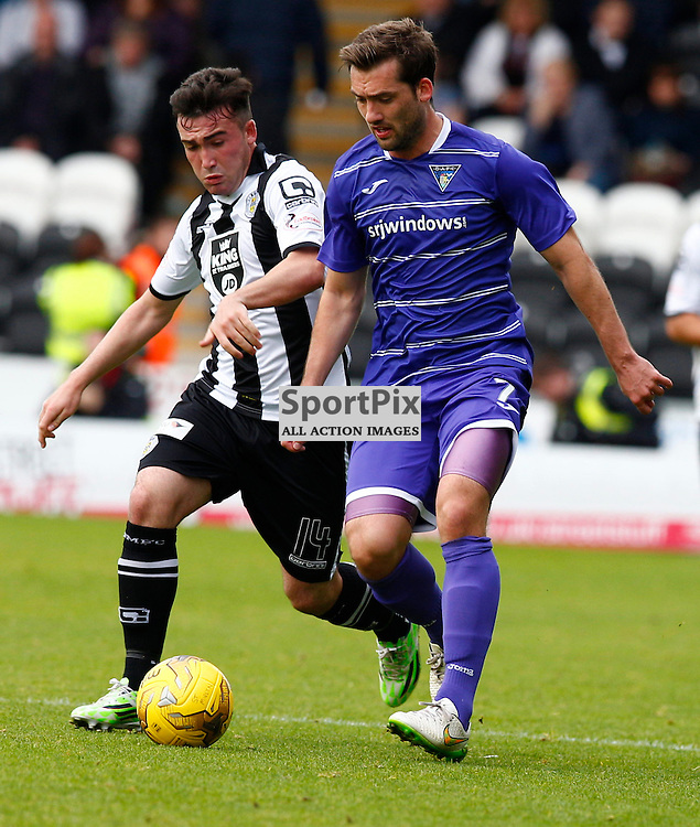St.Mirren v Dunfermline Athletic, PETROFAC TRAINING CUP 1/4 Final 10th October 2015...Stevie Mallan and Michael Patton battle for the ball...(c) STEPHEN LAWSON | SportPix.org.uk