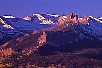 The Castles and the West Elk Mountains during the autumn season, Colorado.