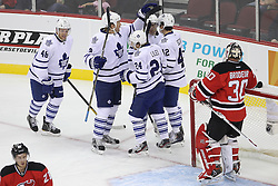 Nov 2; Newark, NJ, USA; Toronto Maple Leafs celebrate a goal by Toronto Maple Leafs right wing Joseph Crabb (46) during the first period at the Prudential Center.