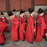 South Korea, Seoul,  Musicians in historical period costume prepare for re-enactment of royal procession at Changgyeonggung, one five great palaces  built by the Joseon Dynasty.