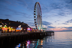 United States, Washington, Seattle, waterfront with Great Wheel