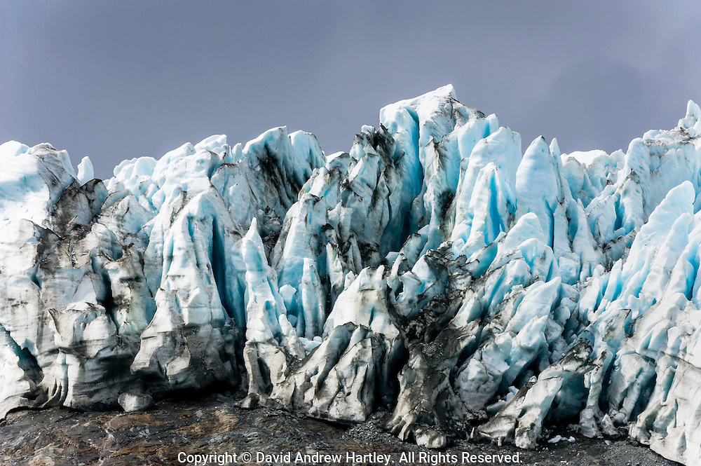 Glacial ice with overcast skies at the top of Drygalski Fjord, Drygalski Fjord, South Georgia Island, South Atlantic Ocean