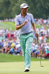 August 12, 2018 - St. Louis, MO, U.S. - ST. LOUIS, MO - AUGUST 12:  Justin Thomas (USA) waves to the crowd on the third green during the PGA Championship August 12, 2018, at Bellerive Country Club in St. Louis, MO.  (Photo by Tim Spyers/Icon Sportswire) (Credit Image: © Tim Spyers/Icon SMI via ZUMA Press)