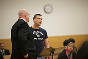 BROOKLYN, NY-- Gerard Honig, boyfriend of victim Yelena Bulchenko, makes a statement to the judge as Maksim Gelman, 24, was sentenced in Brooklyn Supreme Court on the afternoon of Wednesday, January 18, 2012.  Gelman pled guilty to attempted murder in connection with his attack on a subway passenger on February 12, 2011.  <br /> <br /> CREDIT: Andrew Hinderaker for the Wall Street Journal