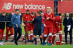 KIRKBY, ENGLAND - Saturday, August 19, 2017: Liverpool's Under-18 manager Steven Gerrard is spoken to by referee Peter Walker during an Under-18 FA Premier League match between Liverpool and Blackburn Rovers at the Kirkby Academy. (Pic by David Rawcliffe/Propaganda)