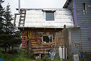 LIVING OFF THE GRID<br /> The original log cabin, Castellani's house.<br /> Anchor Point, Alaska, USA