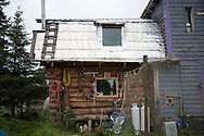 LIVING OFF THE GRID<br /> The original log cabin, Castellani's house.<br /> Anchor Point, Alaska, USA