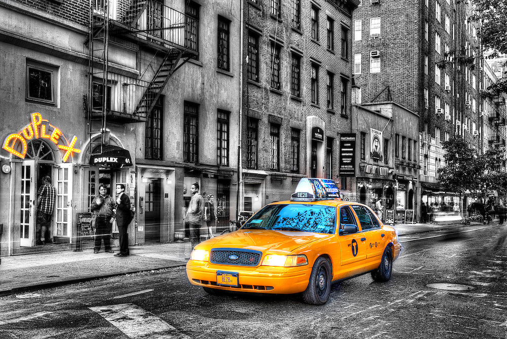 Yellow Taxi, West Village. New York City HDR Photography