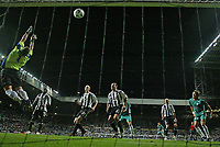 Photo: Andrew Unwin.<br /> Newcastle United v Levadia Tallinn. UEFA Cup. 28/09/2006.<br /> Levadia Tallinn's goalkeeper, Artur Kotenko (L), tips a Newcastle free-kick over the bar.
