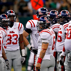 Sep 11, 2010; New Orleans, LA, USA; Mississippi Rebels quarterback Jeremiah Masoli (8) in the huddle with teammates during the first half against the Tulane Green Wave at the Louisiana Superdome.  Mandatory Credit: Derick E. Hingle