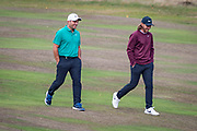 Francesco Molinari of Italy (left) and Tommy Fleetwood of England still all smiles during the British Masters 2018 at Walton Heath Golf Course, Walton On the Hill, Surrey  on 11 October 2018. Picture by Martin Cole.