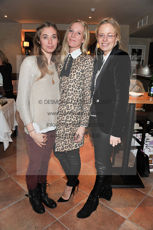 Left to right, ANNOUSHKA BECKWITH, ALICE NAYLOR-LEYLAND and ASTRID HARBORD at the Delicious Glamourous Girls Christmas Bazaar held at The Little Black Gallery & 11 Park Walk, Park Walk, London on 27th November 2012.