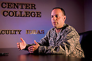 Col. Patrick Owens talks about what students learn at the Air War College. ?They teach you not what to think, but how to think.? He is a KC-135 navigator, mobility officer and the class leader for his fiscal 2009 class. (U.S. Air Force photo/ Lance Cheung)