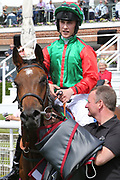 SIGNORA CABELLO (13) ridden by jockey Jason Hart and trained by John Quinn in the Winners Enclosure after winning The Listed Langleys Solicitors British EBF Marygate Filles Stakes over 5f (£50,000) at  the York Dante Meeting at York Racecourse, York, United Kingdom on 18 May 2018. Picture by Mick Atkins.