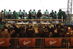 Bench of Olimpija during ice hockey match between HDD Telemach Olimpija and HDD SIJ Acroni Jesenice at Winter Classic of HDD Telemach Olimpija called Pivovarna Union Ice Fest 2014, on December 18, 2014 on Republic Square, Ljubljana, Slovenia. (Photo By Matic Klansek Velej / Sportida.com)