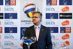12-11-2014 BEL: Loting EK volleybal 2015 vrouwen, Antwerpen<br /> In het Antwerpse stadhuis werd door de Nederlandse-, Belgische volleybalbond en de CEV de loting voor het EK vrouwen verricht