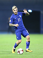 ZAGREB, CROATIA - NOVEMBER 09:  Kostas Stafylidis of Greece controls the ball during the FIFA 2018 World Cup Qualifier play-off first leg match between Croatia and Greece at Maksimir Stadium on November 9, 2017 in Zagreb, Croatia. (Sanjin Strukic/PIXSELL)
