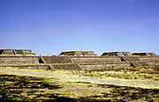 Pre-Columbian Mexico: Teotihuacan: citadel, staircases, bordering north wall towards northeast.