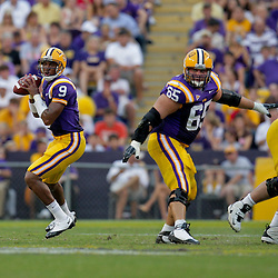 19 September 2009: LSU Tigers quarterback Jordan Jefferson (9) looks to pass during a 31-3 win by the LSU Tigers over the University of Louisiana-Lafayette Ragin Cajuns at Tiger Stadium in Baton Rouge, Louisiana.