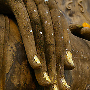Buddha hand at Wat Mahathat in Sukhothai. The Sukhothai kingdom was an early Thai kingdom in north central Thailand. It existed from during the 13, 14, 15th centuries The.old capital is in ruins and is a Historical Park..View from Feb, 2007.