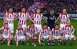 10-03-2005 VOETBAL: UEFA CUP: OLYMPIACOS PIREAUS-NEWCASTLE UNITED: ATHENE<br /> In een beladen wedstrijd wint Newcastle met 3-1 van het griekse Olympiacos - teamfoto olympiacos met nikopolidis , rivaldo , stoltidis , maric , okkas , djordjevic , schurrer , mavrogenidis , kostoulas , georgatos en anatolakis<br /> &copy;2005-WWW.FOTOHOOGENDOORN.NL