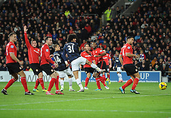 Man Utd Midfielder Marouane Fellaini (BEL) sees his header well saved by Cardiff Goalkeeper David Marshall (SCO) - Photo mandatory by-line: Joseph Meredith/JMP - Tel: Mobile: 07966 386802 - 24/11/2013 - SPORT - FOOTBALL - Cardiff City Stadium - Cardiff City v Manchester United - Barclays Premier League.