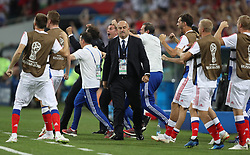 SOCHI, July 7, 2018  Head coach Stanislav Cherchesov (C front) of Russia is seen during the 2018 FIFA World Cup quarter-final match between Russia and Croatia in Sochi, Russia, July 7, 2018. (Credit Image: © Cao Can/Xinhua via ZUMA Wire)
