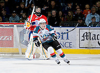 KELOWNA, CANADA, JANUARY 4: Zach Franko #9 of the Kelowna Rockets skates on the ice as the Spokane Chiefs visit the Kelowna Rockets on January 4, 2012 at Prospera Place in Kelowna, British Columbia, Canada (Photo by Marissa Baecker/Getty Images) *** Local Caption ***