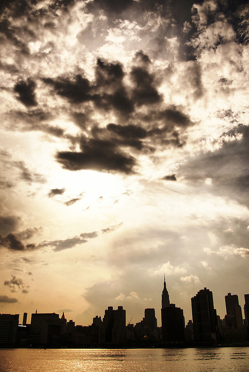 New York City Skyline Silhouette with Empire State Building