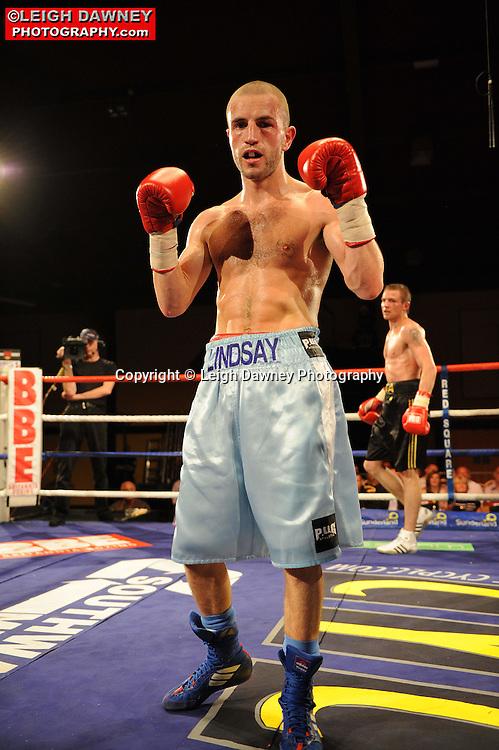 Martin Lindsay (grey shorts) defeats Yauheni Kruhlik at Rainton Meadows Arena, Sunderland, 11th September 2010. Frank Maloney Promotions. © Photo credit: Leigh Dawney