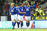 Picture by Paul Chesterton/Focus Images Ltd.  07904 640267.07/04/12.Nikica Jelavic of Everton scores his sides 1st goal and celebrates during the Barclays Premier League match at Carrow Road Stadium, Norwich.