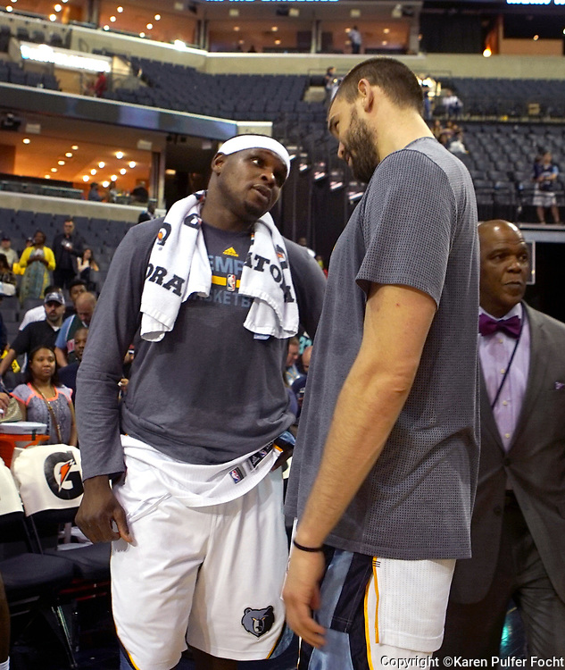 Memphis Grizzlies Zach Randolph and Marc Gasol are as close as brothers. © Karen Pulfer Focht-ALL RIGHTS RESERVED-NOT FOR USE WITHOUT WRITTEN PERMISSION