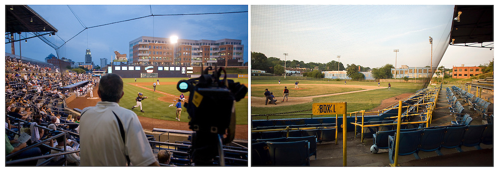 The Durham Bulls Athletic Park on the left, and the old Durham Athletic Park onf the right.