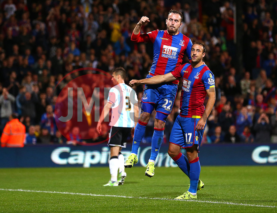 Glenn Murray ( R ) of Crystal Palace celebrates Jordon Mutch after he scores from the penalty spot to make it 2-1 - Mandatory byline: Paul Terry/JMP - 07966386802 - 25/08/2015 - FOOTBALL - Selhurst Park -London,England - Crystal Palace v Shrewsbury town - Capital One Cup - Second Round