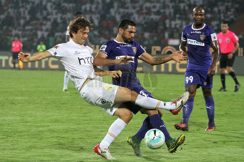 Robert Cullen of NorthEast United FC takes a shot at the goal during match 18 of the Indian Super League (ISL) season 3 between NorthEast United FC and Chennaiyin FC held at the Indira Gandhi Athletic Stadium in Guwahati, India on the 20th October 2016.<br /> <br /> Photo by Vipin Pawar / ISL/ SPORTZPICS