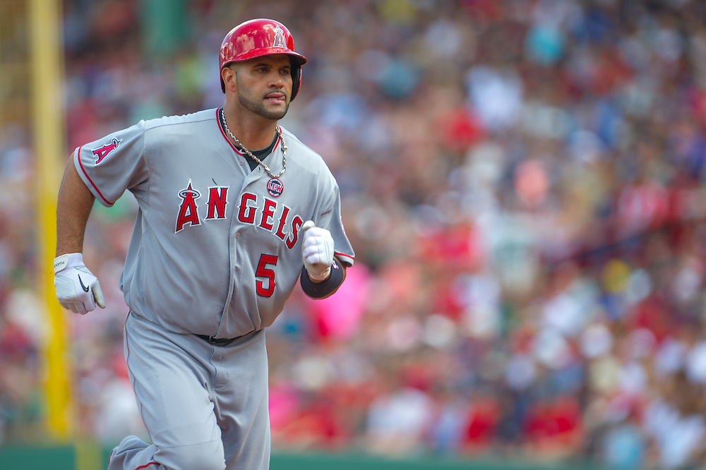 BOSTON, MA - JUNE 09: Albert Pujols #5 of the Los Angeles Angels bats during the game against the Boston Red Sox at Fenway Park in Boston, Massachusetts on June 9, 2013. (Photo by Rob Tringali) *** Local Caption *** Albert Pujols