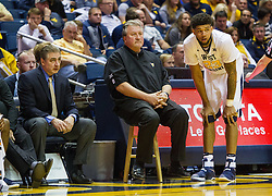 Nov 11, 2016; Morgantown, WV, USA; West Virginia Mountaineers forward Esa Ahmad (23) talks with West Virginia Mountaineers head coach Bob Huggins during the second half against the Mount St. Mary's Mountaineers at WVU Coliseum. Mandatory Credit: Ben Queen-USA TODAY Sports