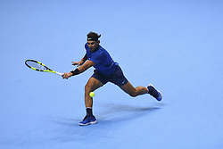 November 13, 2017 - London, England, United Kingdom - Spain's Rafael Nadal returns against Belgium's David Goffin during their singles match on day two of the ATP World Tour Finals tennis tournament at the O2 Arena in London on November 13, 2017. (Credit Image: © Alberto Pezzali/NurPhoto via ZUMA Press)