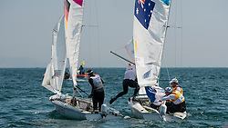 10.08.2012, Bucht von Weymouth, GBR, Olympia 2012, Segeln, im Bild Belcher Mathew, Page Malcolm, (AUS, 470 Men).Belcher Friederike, Kadelbach Kathrin, (GER, 470 Women) // during Sailing, at the 2012 Summer Olympics at Bay of Weymouth, United Kingdom on 2012/08/10. EXPA Pictures © 2012, PhotoCredit: EXPA/ Juerg Kaufmann ***** ATTENTION for AUT, CRO, GER, FIN, NOR, NED, .POL, SLO and SWE ONLY!