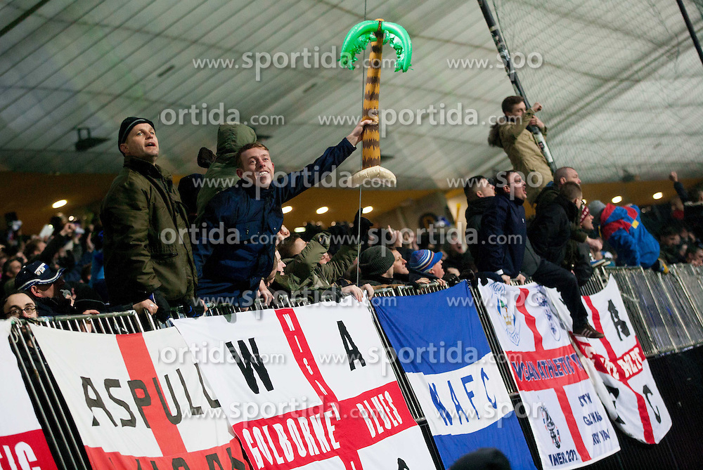 Supporters of Wigan during football match between NK Maribor and Wigan Athletic FC (ENG) in Round 6 of Group D of UEFA Europa League 2014, on December 12, 2013 in Stadion Ljudski vrt, Maribor, Slovenia. Maribor won against Wigan 2-1 and qualified to next Stage. Photo by Vid Ponikvar / Sportida