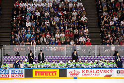 Jure Ferjanic, Gaber Glavic, Edo Terglav, Nik Zupancic, head coach of Slovenia, Natasa Miksa during the 2017 IIHF Men's World Championship group B Ice hockey match between National Teams of France and Slovenia, on May 15, 2017 in AccorHotels Arena in Paris, France. Photo by Vid Ponikvar / Sportida