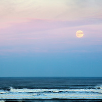 Moonrise over the North Sea at Alnmouth Northumberland England