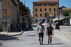 Barbara Guarischi (ITA) and Elena Cecchini (ITA) of CANYON//SRAM Racing walk back to the team bus before the start of Stage 7 of the Giro Rosa - a 141.9 km road race, between Isernia and Baronissi on July 6, 2017, in Isernia, Italy. (Photo by Balint Hamvas/Velofocus.com)