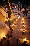 The ghats of Varanasi filled with burning dyias during Dev Deewapali.