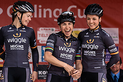 Giorgia Bronzini having a laugh with her Wiggle Hi5 teammates at sign in - Grand Prix de Dottignies 2016. A 117km road race starting and finishing in Dottignies, Belgium on April 4th 2016.