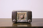 Cutout of a retro Zenith transistor radio receiver on white background