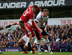 LONDON, ENGLAND - Sunday, April 10, 2016: Manchester United's Jesse Lingard grabs hold of Tottenham Hotspur's Toby Alderweireld during the Premier League match at White Hart Lane. (Pic by David Rawcliffe/Propaganda)
